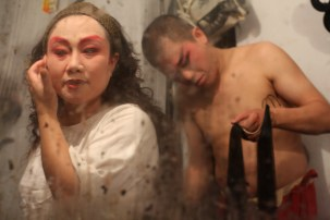 Opera performers getting ready (reflection), Chengdu, Sichuan