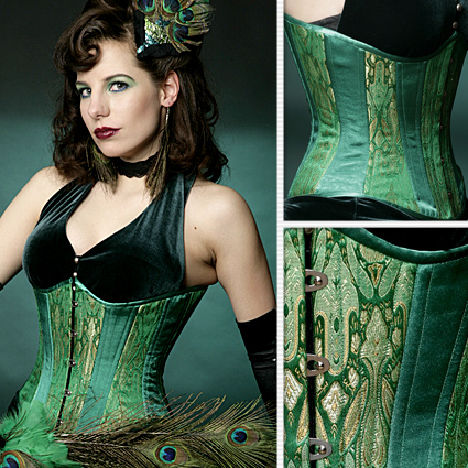 5c790de202f Emerald Green Brocade Slim Corset – Lucy s Corsetry