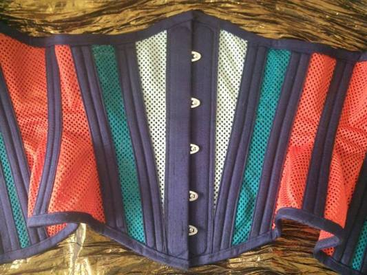 "JL Corsets ""Kingfisher"" mesh corset, using 3 colours of sport mesh"