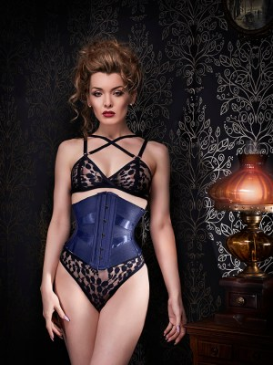 3547291ae66 Alternating matte and shiny blue ribbon in this cincher from Orchid Corsetry  (UK). Starts at £350 GBP. Model  Miss Miranda.