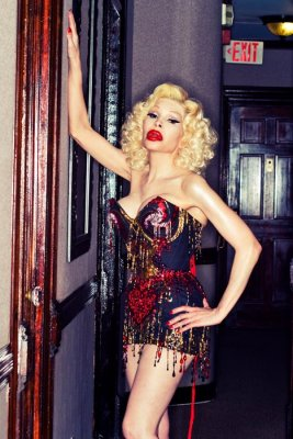 """""""The Love Warrior"""", designed by Maison Moginot (France) with help from Mr. Pearl, is dripping with jewels. Model: Amanda Lepore"""