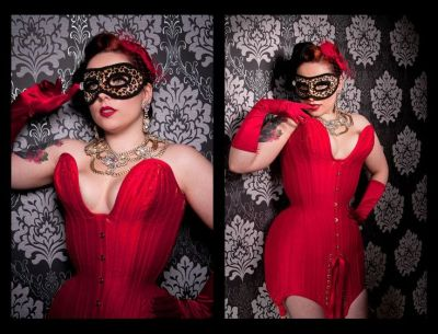 This Jessica Rabbit inspired mini corset dress was designed by Orchid Corsetry (UK). Model: Miss Anne Thropy. Photo: Damona Art.