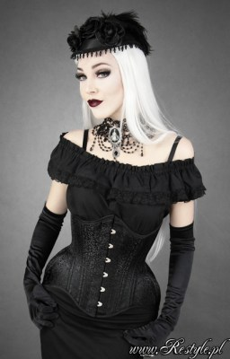 Black Brocade longline underbust by Restyle, $52