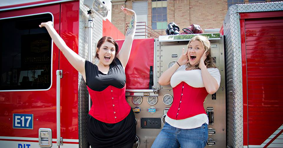 b5b9a40f74b Orchard Corset CS-345 Review. Brittney and Amber model the CS-345 underbust  in a limited edition red satin.