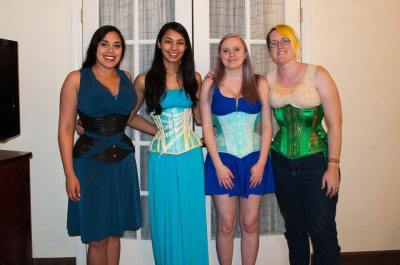 Photo from the North American Lingerie and Corsetry Symposium in California, 2015. From left to right: Me (Lucy), Zessinna, Amber (Lovely Rats Corsetry), and Sidney Eileen.