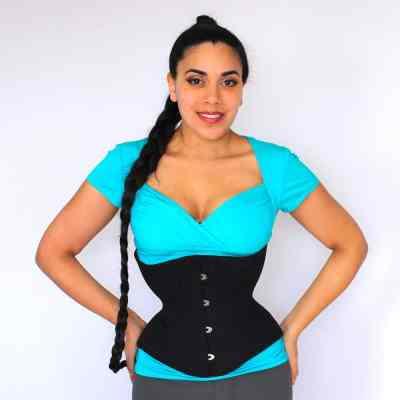 Libra black cotton corset front Lucy