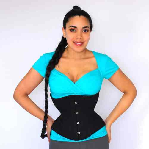 Libra black cotton corset front Lucy