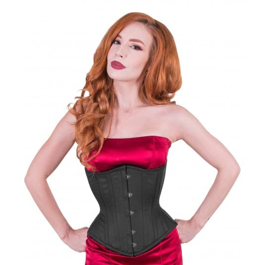 True Corset black cotton Artemis waist training tight lacing corset for sale at Lucy's Corsetry $99 USD