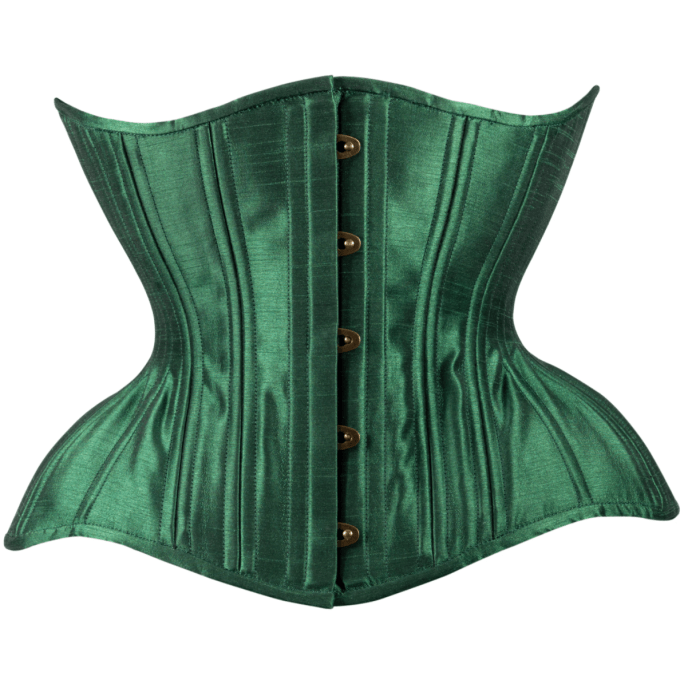 Timeless Trends deep leaf green satin Gemini corset in the conical rib silhouette, available on Lucy's Corsetry, $109 USD