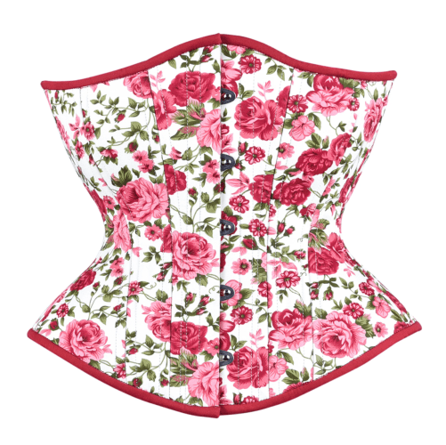 Timeless Trends pink floral rose cotton hourglass corset in the round rib silhouette, available on Lucy's Corsetry, $99 USD