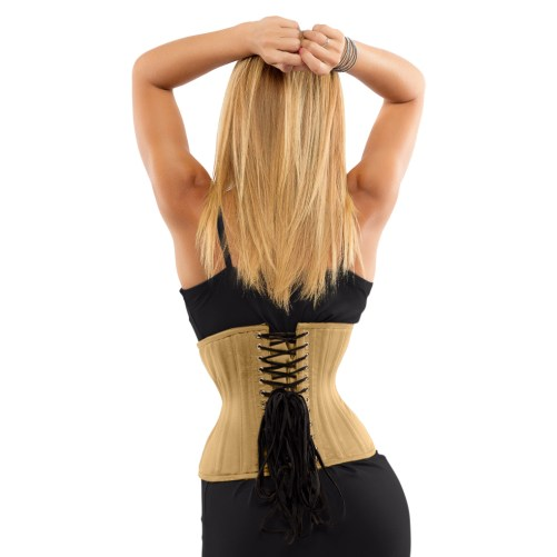 Glamorous Jolie beige curvy cincher waspie for sale at Lucy's Corsetry $84 USD