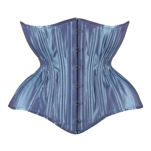 Timeless Trends iridescent indigo satin Gemini corset in the round rib silhouette, available on Lucy's Corsetry, $109 USD