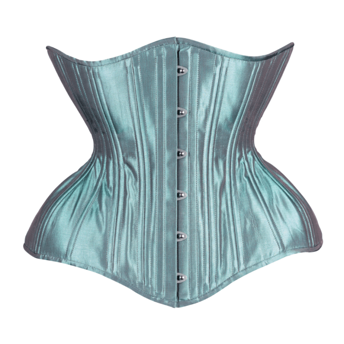 Timeless Trends iridescent jade satin Gemini corset in the conical rib silhouette, available on Lucy's Corsetry, $109 USD