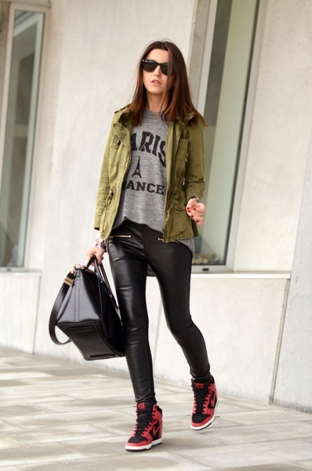 cargo jacket with leather pants