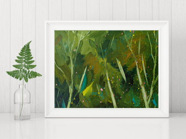 Horizontal interior painting bewitched up with empty frame and fern leaf in glass bottle on white wall background.