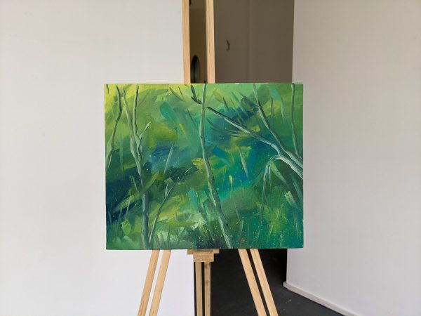 Abstract painting on easel Labyrinth
