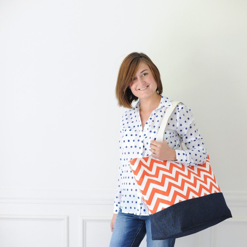 Lucy Jane Beach Bag Orange Chevron