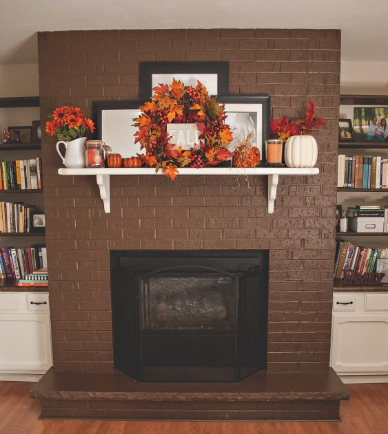 fall mantel and porch decor