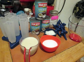 Mise en place. There's three cans of milk there, but I only used about one and most of another.