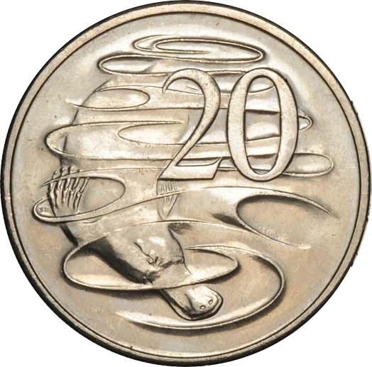 Moneta australiana da 20 centesimi con ornitorinco