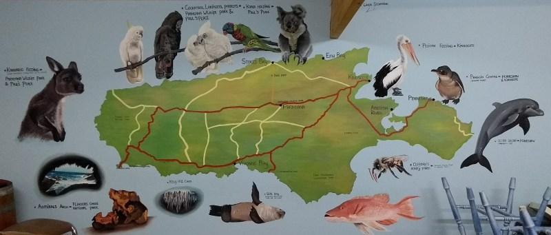 Kangaroo Island animali selvatici mappa disegnata