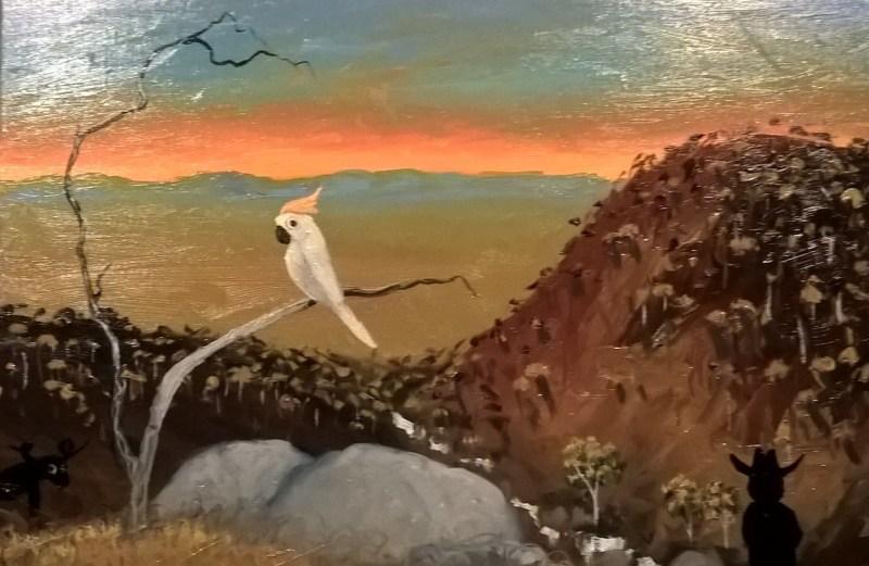Dipinto aborigeno di Jacob Stengl: un cacatua su un ramo