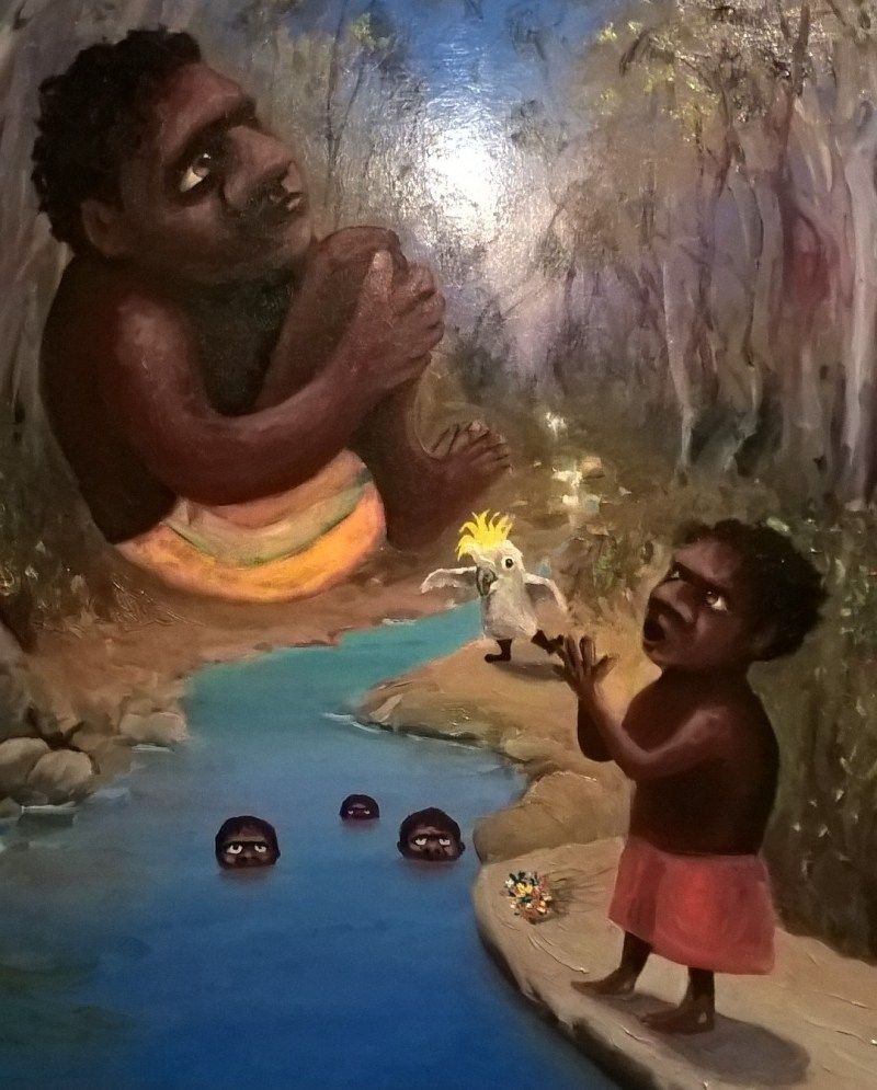 Dipinto aborigeno di Jacob Stengl: bambini e un cacatua che fa il pazzo