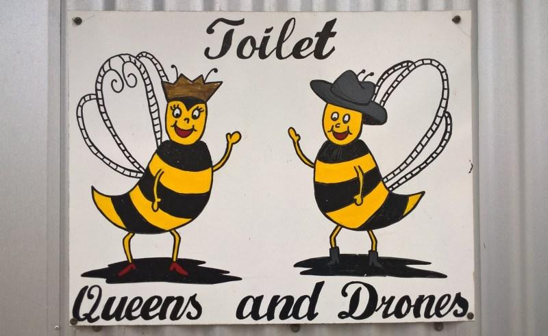 cartello toilette con api maschi e femmine