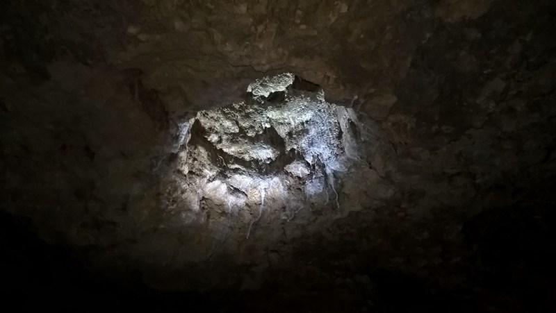 Un buco nella volta di una delle grotte di Naracoorte