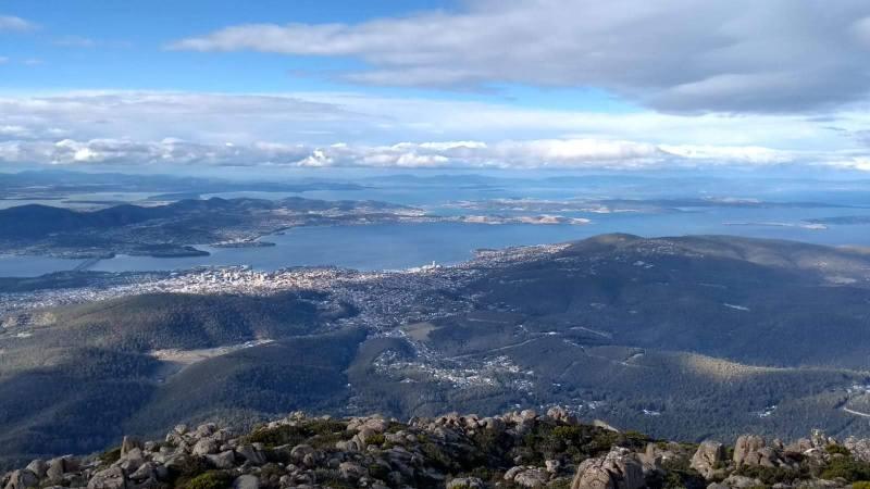 Hobart, Tasmania: panorama della città dal Mount Wellington