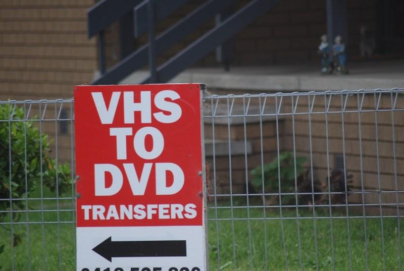 cartello: trasferimenti da VHS a DVD