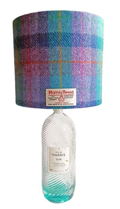 20cm D Drum Kingfisher Check Harris Gin Bottle Lamp