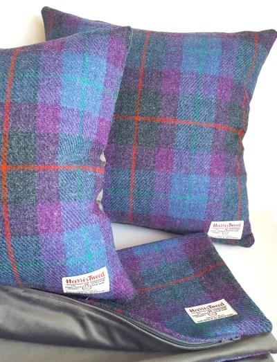 Purple Tartan Harris Tweed Cushions