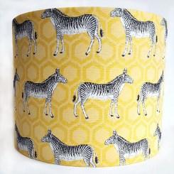25cm Drum Lampshade in Yellow Zebra fabric