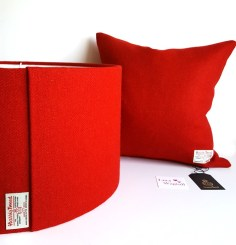 Red Harris Tweed Cushion and 45cm D Lampshade