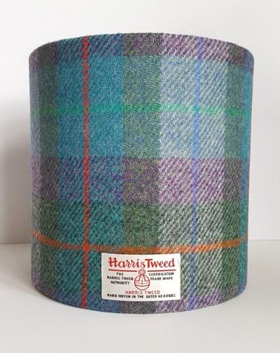 20cm D Turq - Green Harris Tweed Lampshade