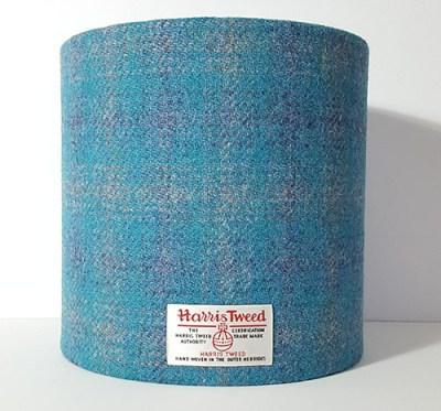 20cm Turq Grey Purple Check Harris Tweed Lampshade