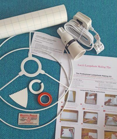 Herringbone Teal DIY lamp shade making kit