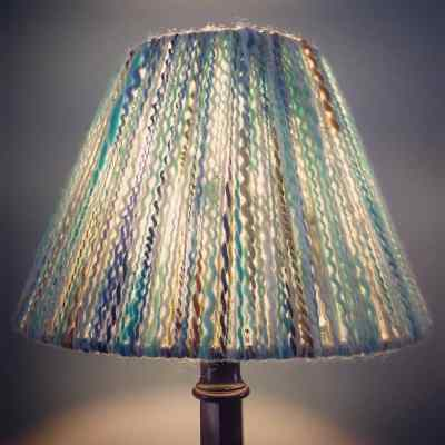 Hand Wrapped Yarn Lampshade using 100% Highland Wool