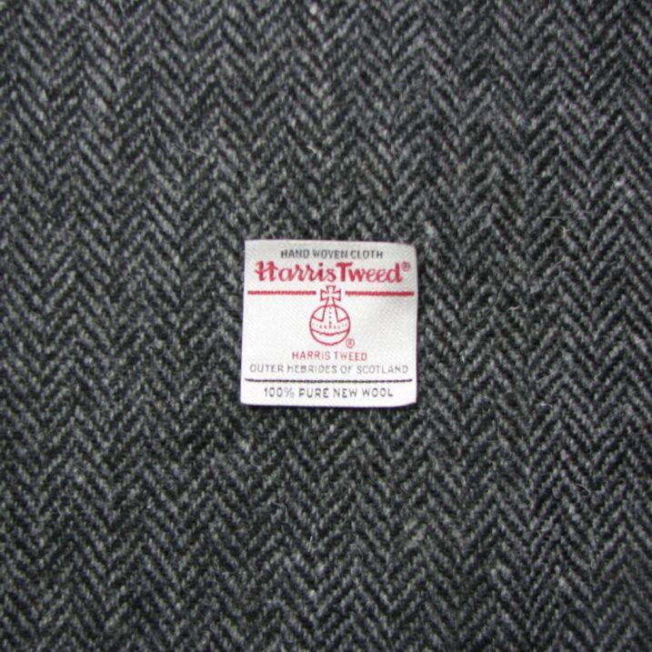 Charcoal Grey White Herringbone Harris Tweed