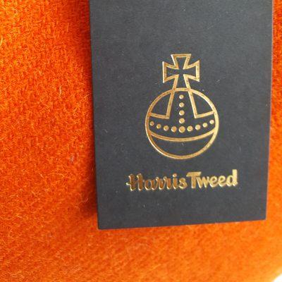 Harris Tweed Label on Orange Cushion