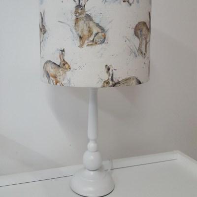 White Lamp Base - Hurtling Hares
