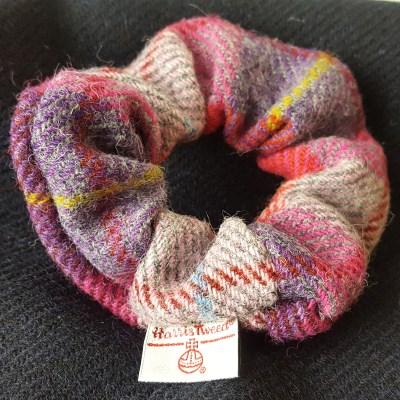 Pink Purple Check Scrunchie