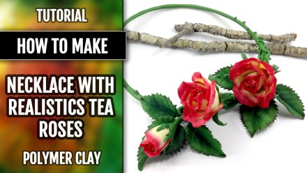 Necklace with Real Tea Rose