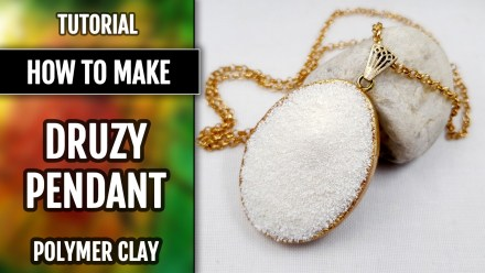 """Claire Randall's Pendant – Inspired by """"Outlander"""".  Faux White Druzy Stone from Polymer Clay"""