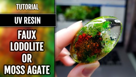 Faux Clear Stone – Moss Agate or Lodolite Quartz – UV Resin and natural inclusions