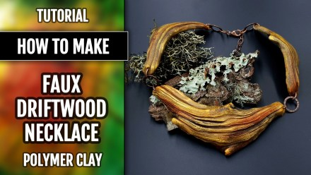 (15+) Video Tutorial: How to make Faux Driftwood Necklace from Polymer clay!
