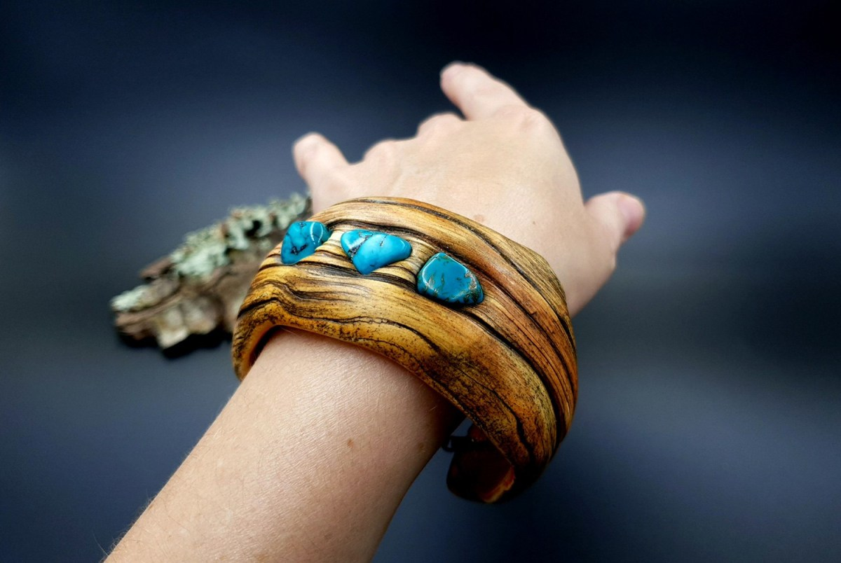 Paid Tutorial: Faux driftwood bracelet cuff with turquoise stone 7
