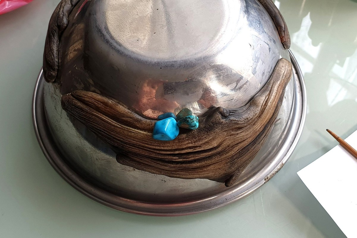 Paid Tutorial: Faux Driftwood Pendants with Turquoise stone 6