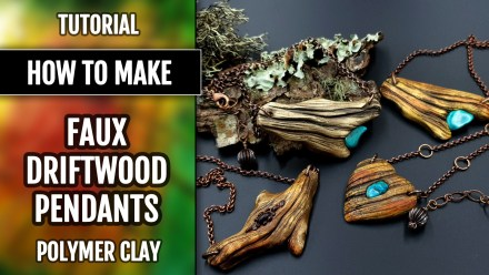 Paid Tutorial: Faux Driftwood Pendants with Turquoise stone